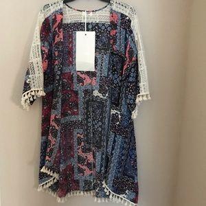 UMGEE Navy Ivory Boho Lace Kimono Cardigan